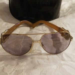 Fendi Gold Aviator Sunglasses